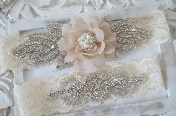 Rhinestone Floral Garter Set