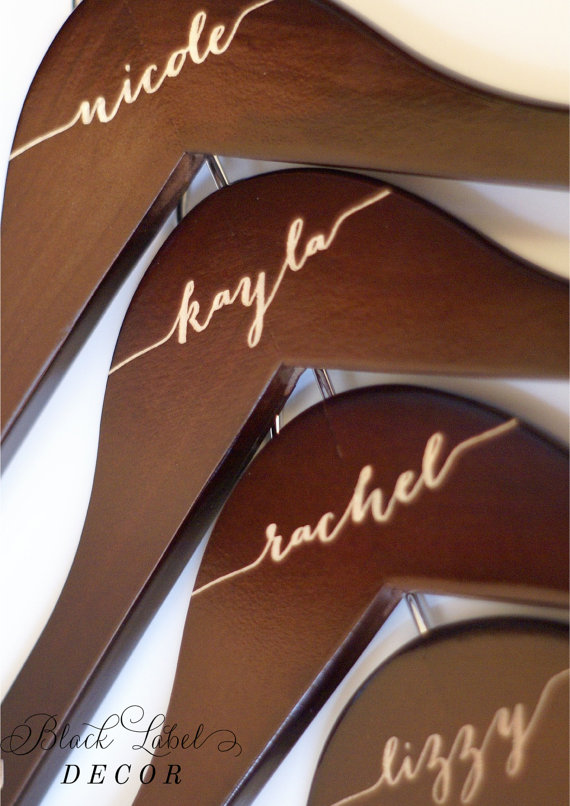 Wooden Engraved Bridesmaid Hangers