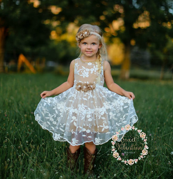 Rustic Lace Flower Girl Dress