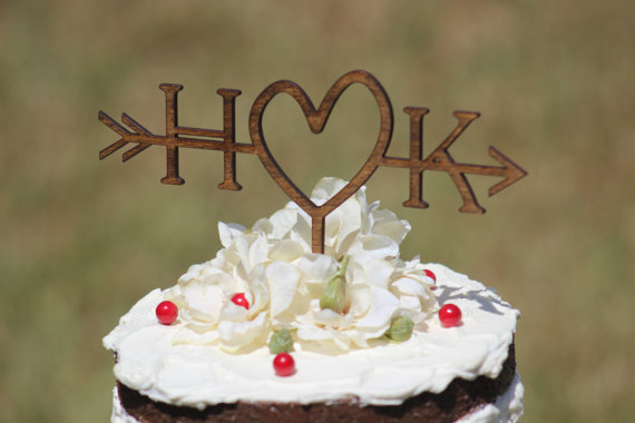 Rustic Wedding Arrow Cake Topper