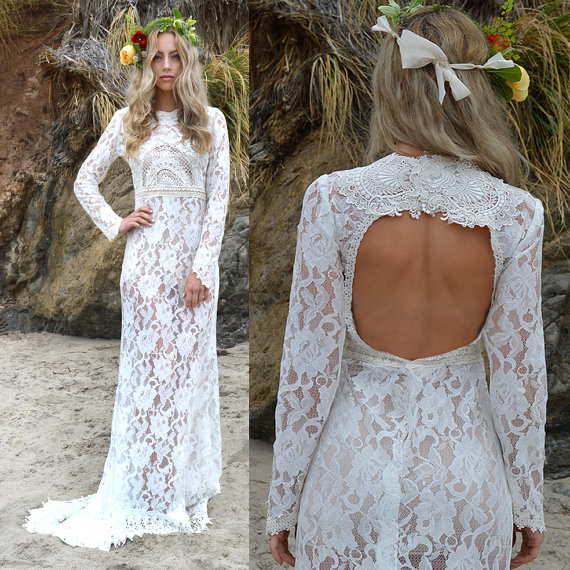 Sheer Lace Back Cut Out Boho Wedding Dress