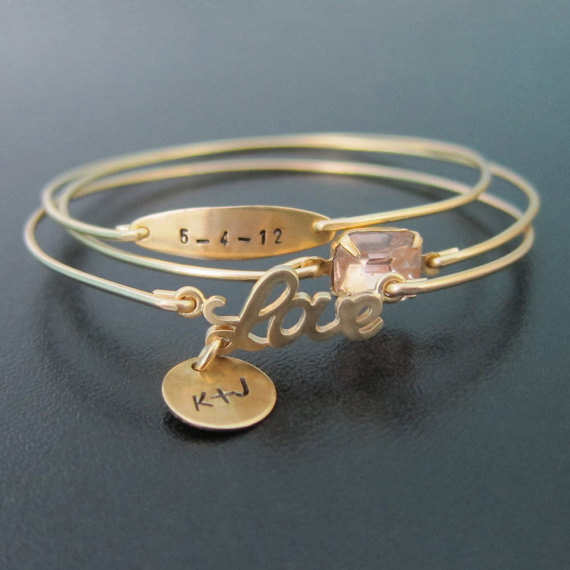 Personalied Bangle Bridesmaid Bracelet