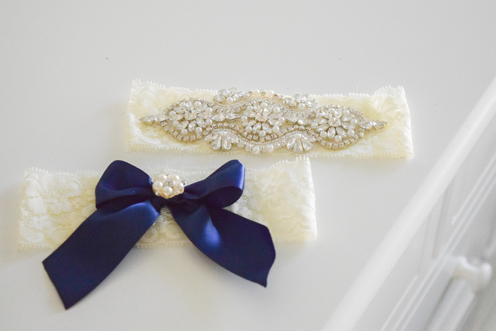 Something Blue Lace Rhinestone Garter Set by Ella Winston