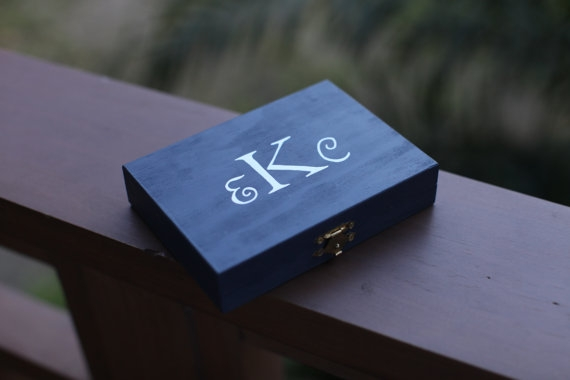 monogrammed wedding items - ring bearer box