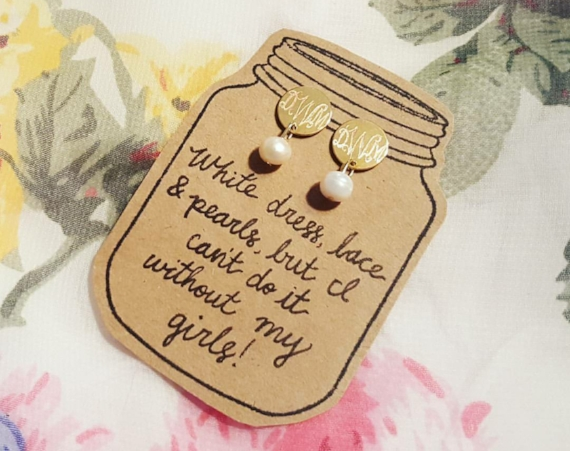 monogrammed wedding items -  bridesmaid gift earrings