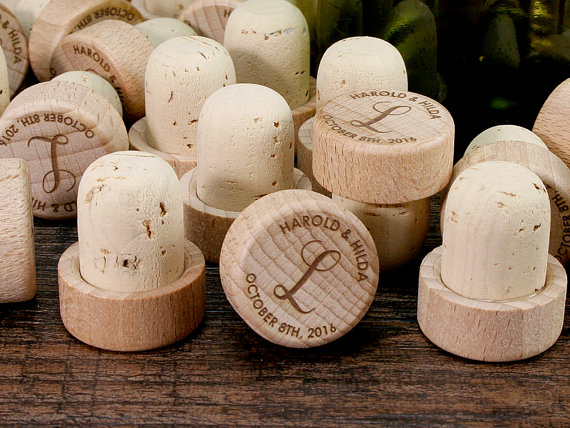 monogrammed wedding items - wine cork wedding favor ideas