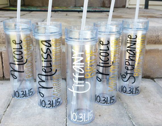 personalized bridesmaid bachelorette party cups mugs tumblers