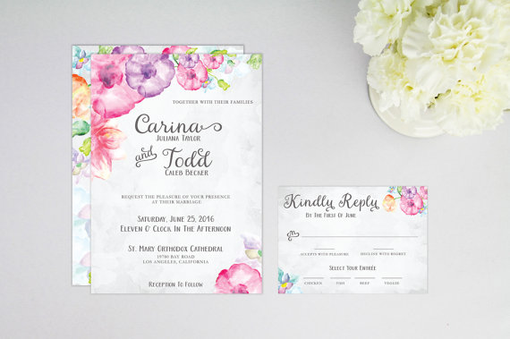 Floral Print Wedding Invitations