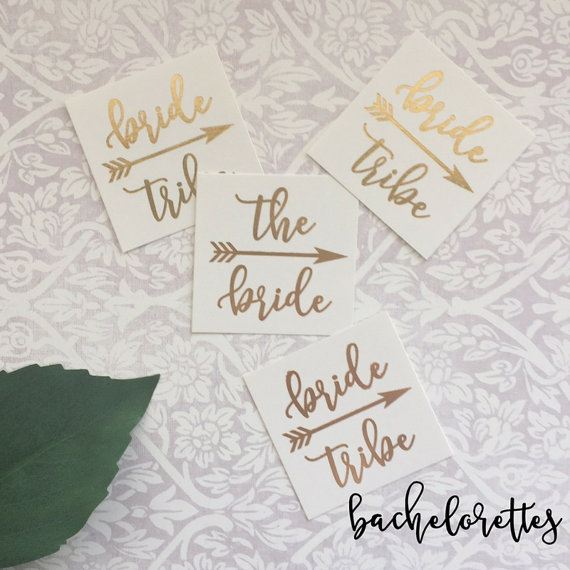 Gold Bachelorette Party Tattoos
