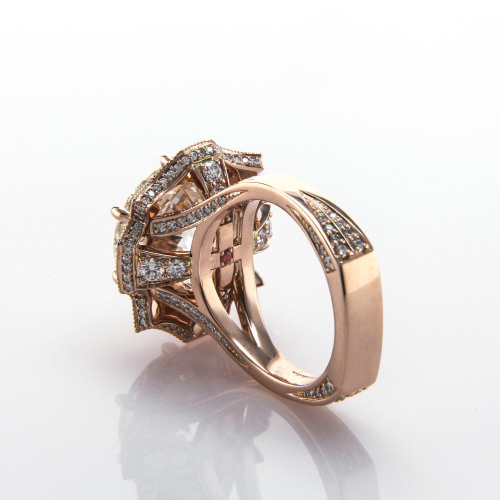 Rose Gold Halo Engagement Ring - 2017 Engagement Ring Trends featuring Black by Brian Gavin