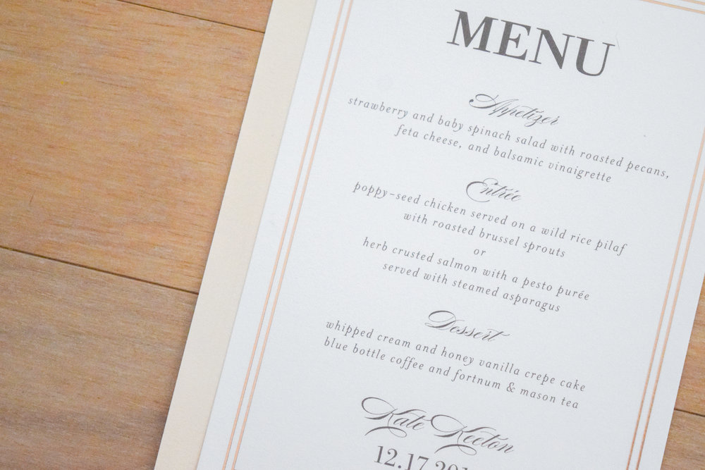 Bridal Shower Food Ideas - Menu Cards