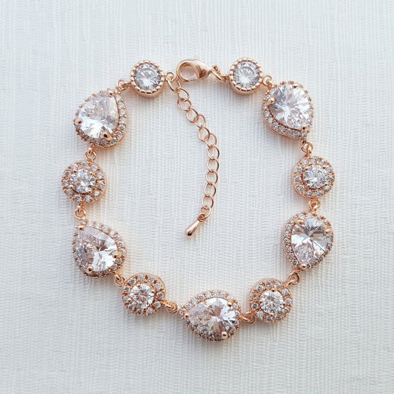 Rose Gold Bridal Jewelry - Rose Gold Bridal Bracelet