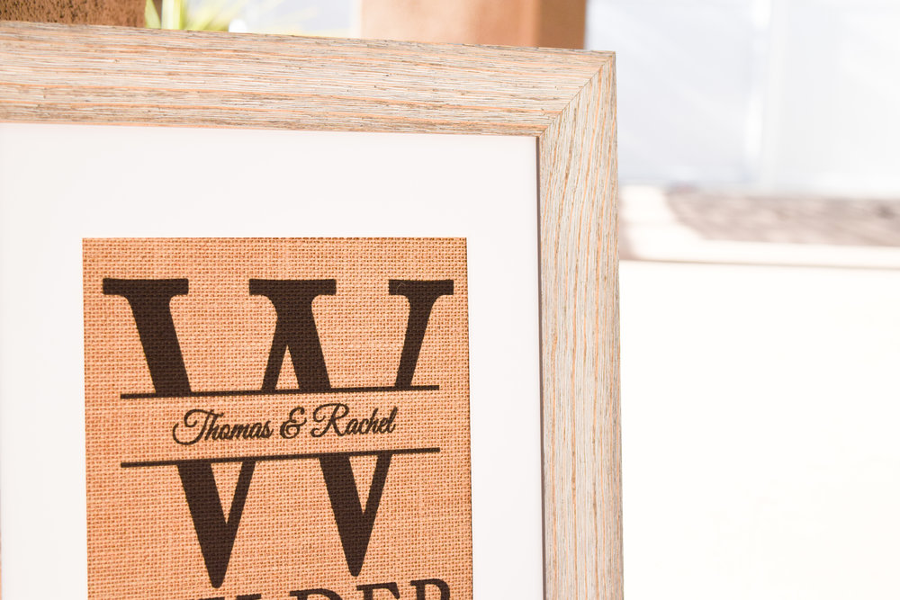 The Bridal Boutique | Burlap Monogrammed Wedding Gift by Knot & Nest