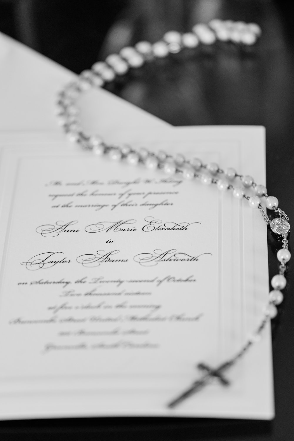 Wedding Invitation + Bridal Rosary - A Black Tie, South Carolina Commerce Club Wedding