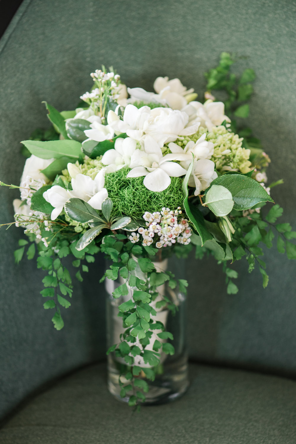 White Bridal Bouquet with Greenery - A Black Tie, South Carolina Commerce Club Wedding