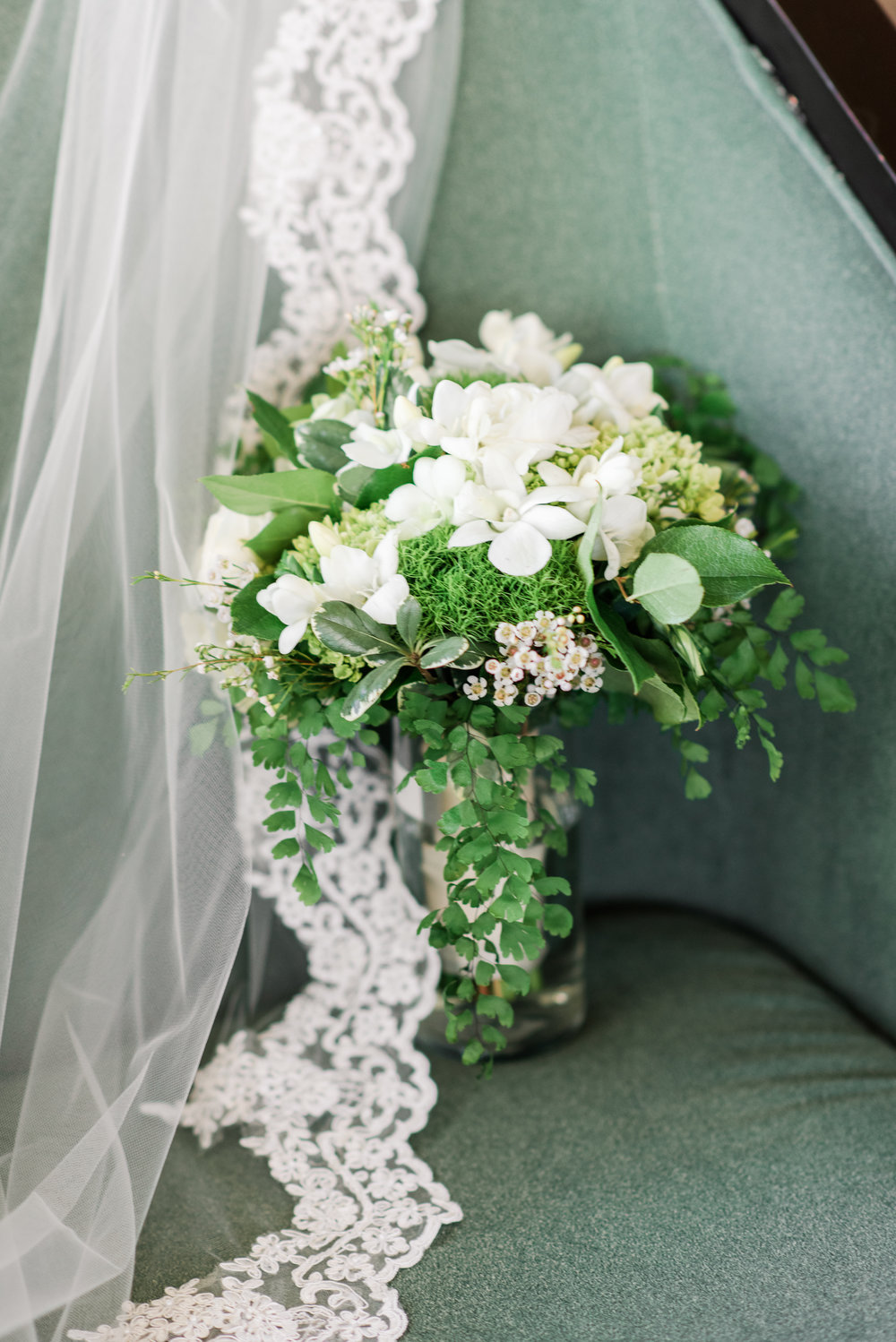 White Bridal Bouquet with Lace Veil - A Black Tie, South Carolina Commerce Club Wedding