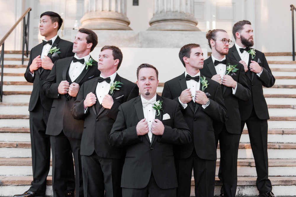 Black Tux Groomsmen Attire - A Black Tie, South Carolina Commerce Club Wedding