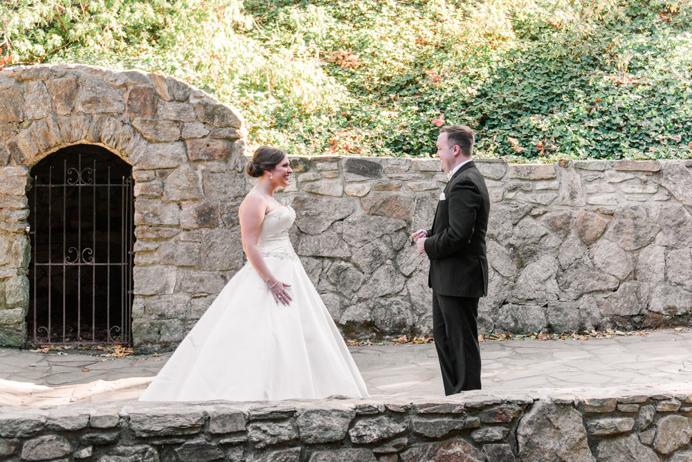 Bride and Groom First Look - A Black Tie, South Carolina Commerce Club Wedding