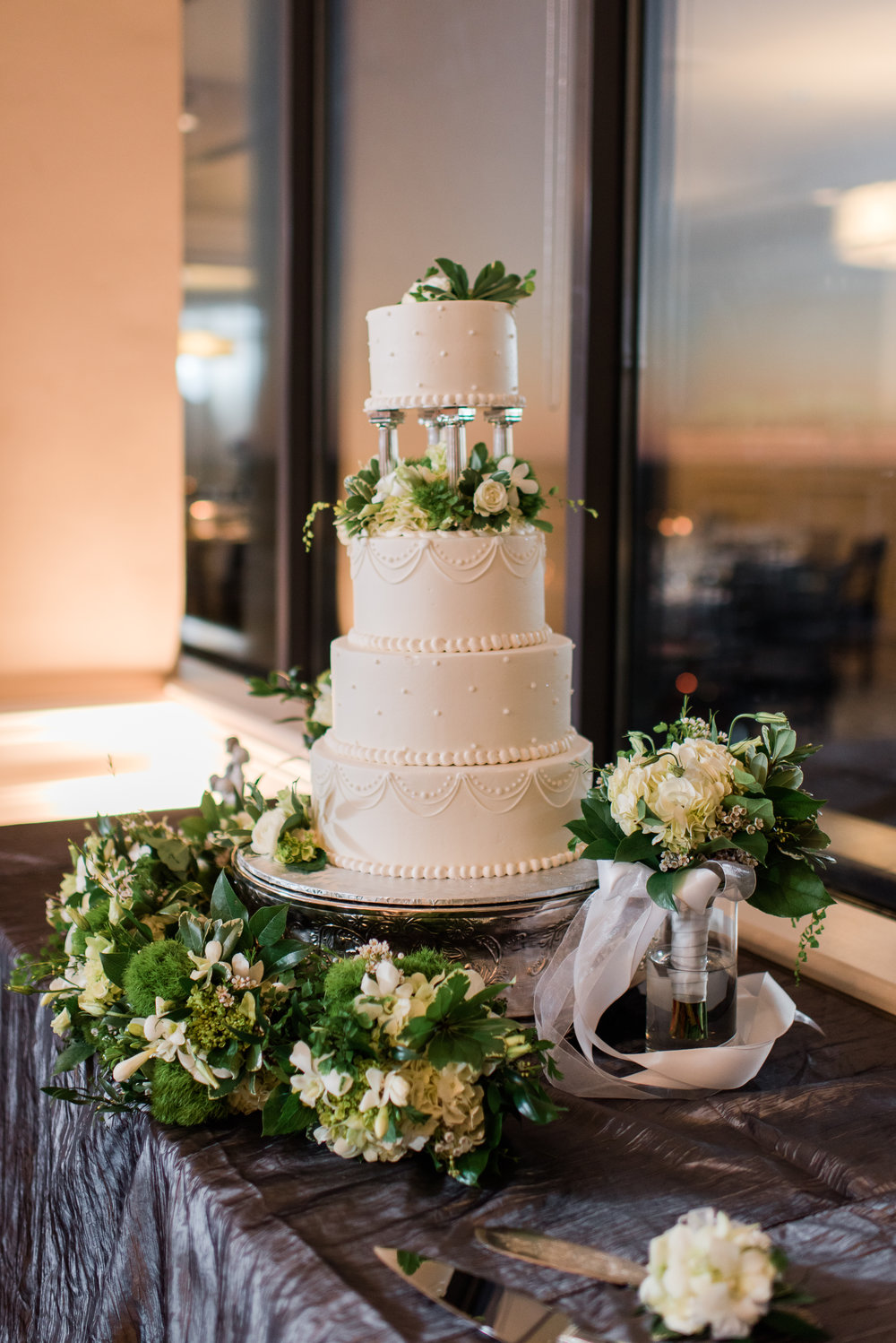 White Wedding Cake - A Black Tie, South Carolina Commerce Club Wedding