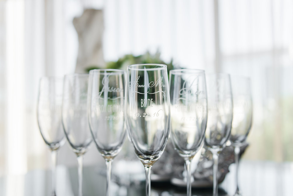 Personalized bridesmaid champagne glasses - A Black Tie, South Carolina Commerce Club Wedding