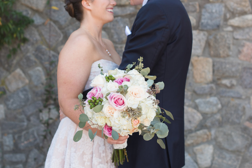 Pink and White Wedding Bouquet - Travel Themed Wedding - Caitlin Gerres Photography