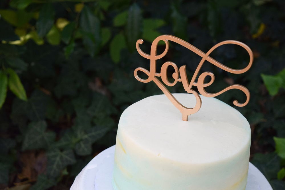 Gold Laser Cut Cake Topper by Black Label Decor - Gold and Seafoam Blue Wedding Cake