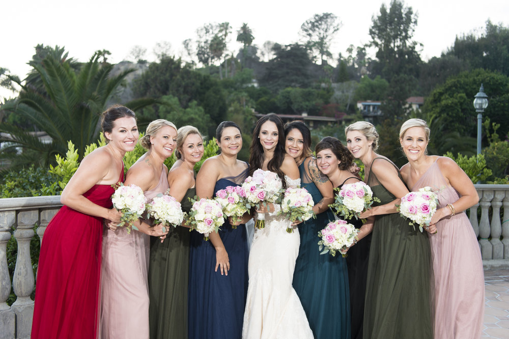 Colorful Bridesmaid Dresses - A Romantic Bel Air Bay Club Ocean-View Wedding - Southern California Wedding - Kevin Dinh Photography