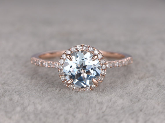 Light Blue Engagement Ring - Non Diamond Engagement Rings - Engagement Rings Without Diamonds