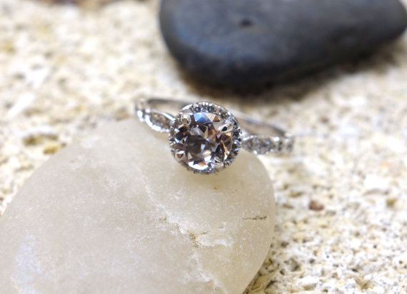 Unique Halo Engagement Ring - Non Diamond Engagement Rings - Engagement Rings Without Diamonds