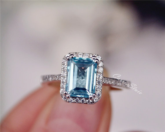 Aquamarine Emerald Cut Engagement Ring - Non Diamond Engagement Rings - Engagement Rings Without Diamonds