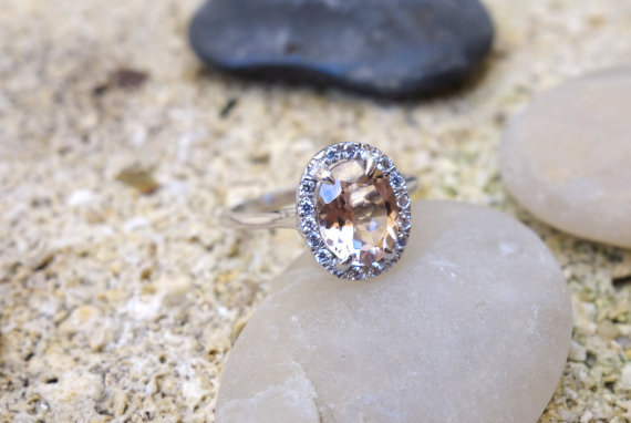 Morganite Halo Engagement Ring - Non Diamond Engagement Rings - Engagement Rings Without Diamonds