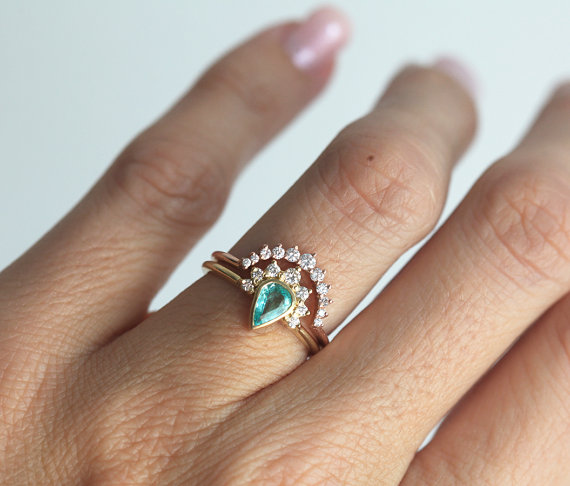 Paraiba Tourmaline Engagement Ring Set - Non Diamond Engagement Rings - Engagement Rings Without Diamonds