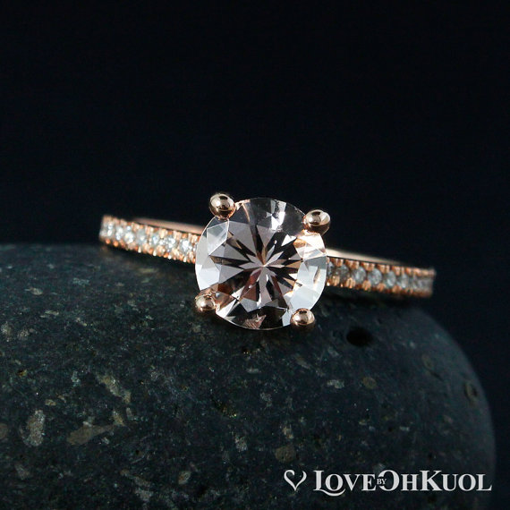 Pink Morganite Solitaire Engagement Ring - Non Diamond Engagement Rings - Engagement Rings Without Diamonds