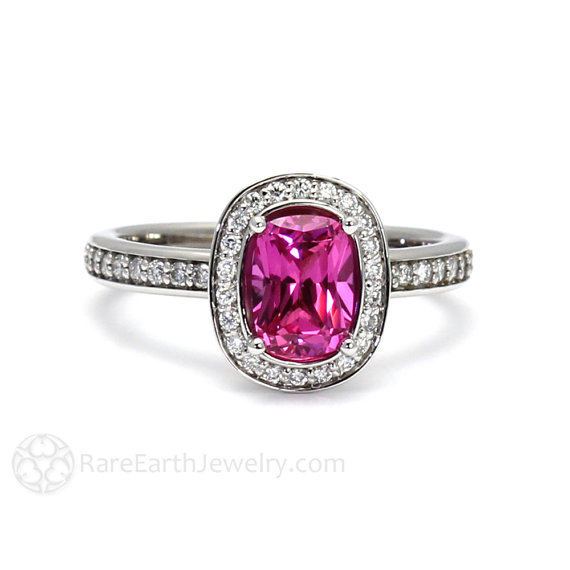Hot Pink Sapphire Engagement Ring - Non Diamond Engagement Rings - Engagement Rings Without Diamonds