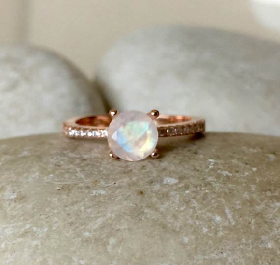 Rose Gold and Moonstone Engagement Ring - Non Diamond Engagement Rings - Engagement Rings Without Diamonds