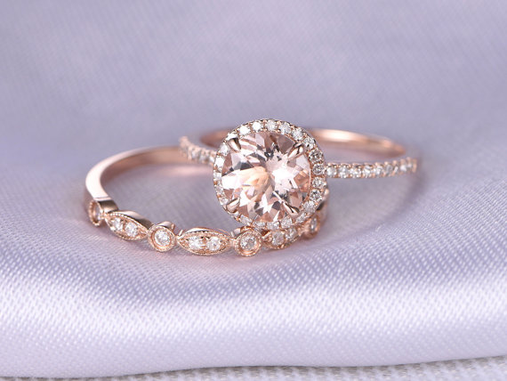 Morganite and Rose Gold Engagement Ring - Non Diamond Engagement Rings - Engagement Rings Without Diamonds