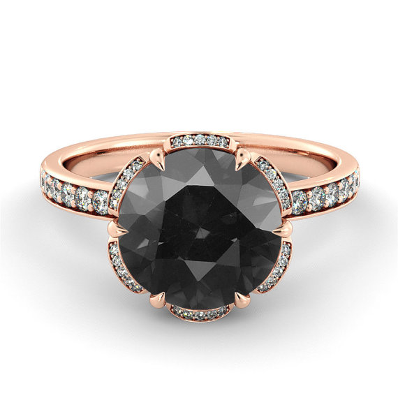 Black Diamond Engagement Ring - Non Diamond Engagement Rings - Engagement Rings Without Diamonds