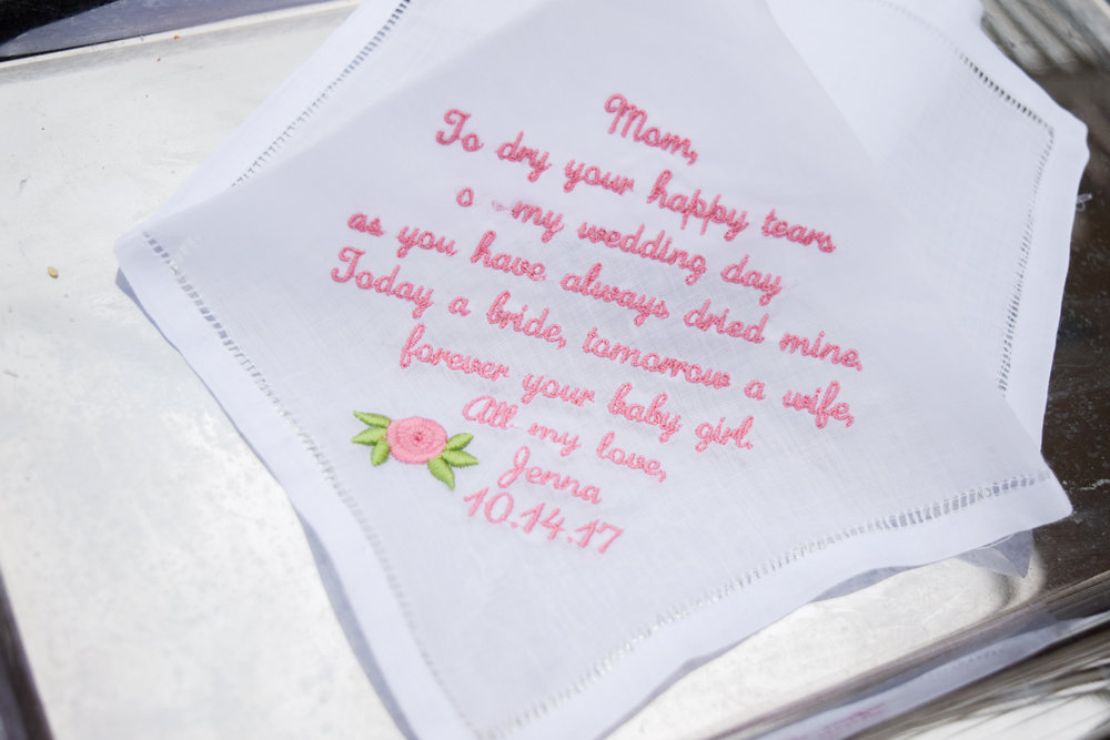 The Bridal Boutique | Custom Mother of the Bride Wedding Handkerchiefs by Inspired Stitches