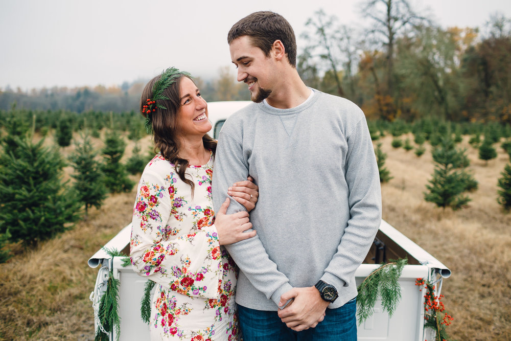Christmas Tree Farm Engagement Photos by Joshua Rainey Photography