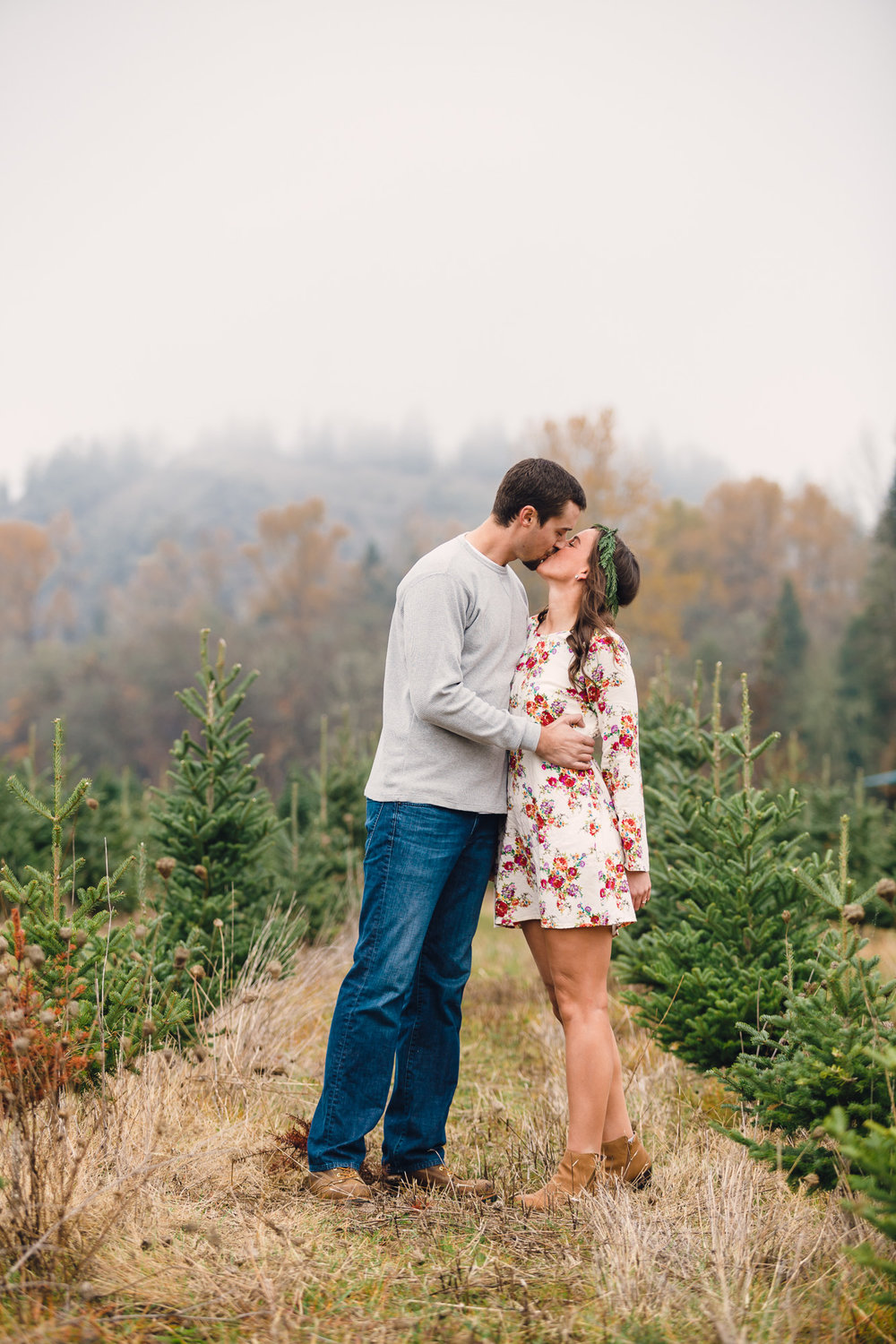 Vintage Chevy Truck Engagement Photos - Christmas Tree Farm Engagement Photos by Joshua Rainey Photography