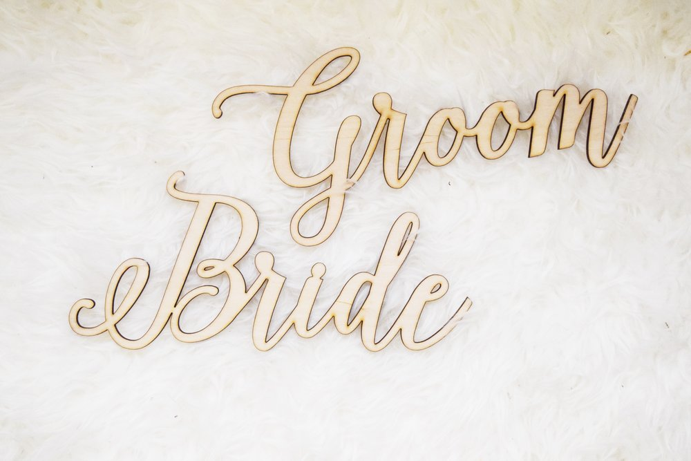 Black Label Decor - Bride and Groom Wooden Lasercut Signs