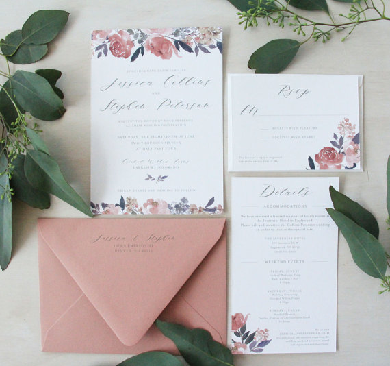 floral watercolor wedding invitations - Watercolor Wedding Invitations