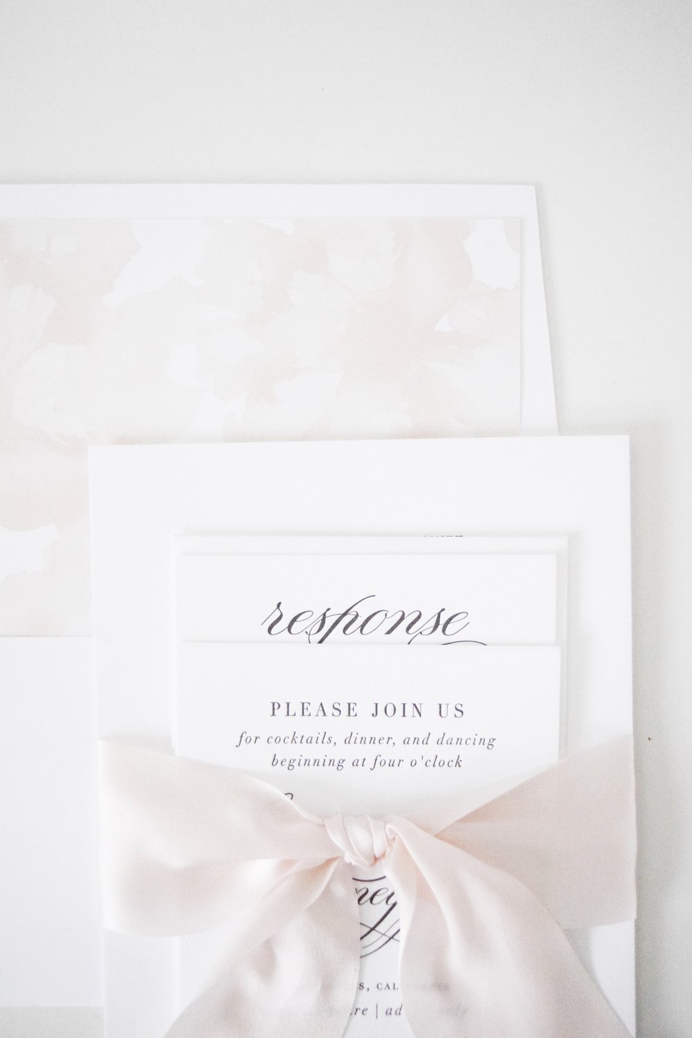 White + Blush Wedding Invitations - Shine Wedding Invitations