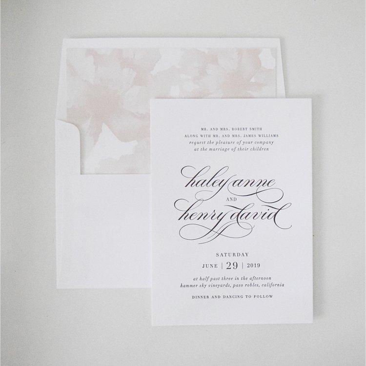The Bridal Boutique   White + Blush Wedding Invitations — The ...