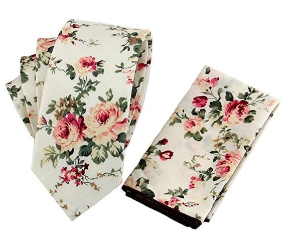 Floral Groom Tie, Floral Groom Pocket Square - Floral Wedding Details