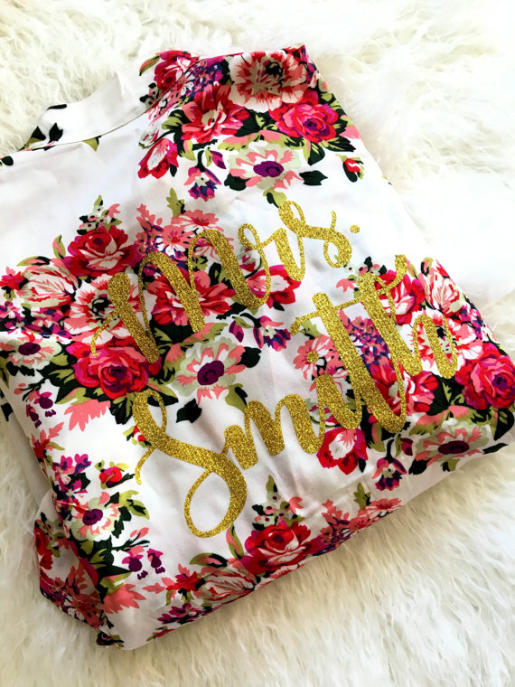 Floral Bridal Robe - Floral Wedding Details