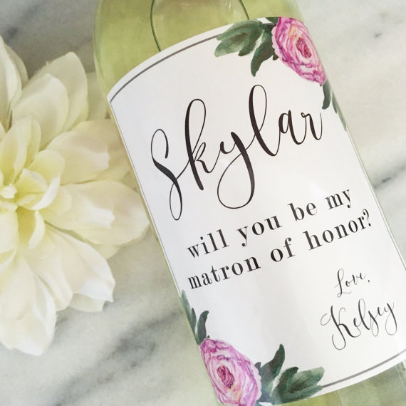 Floral Wedding Wine Labels - Bridesmaid Proposal Wine Labels