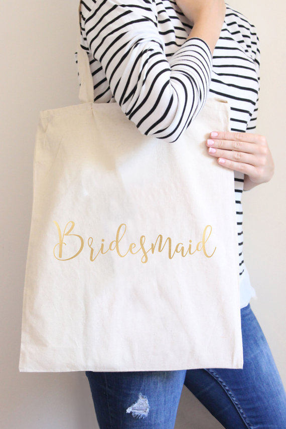 Bridesmaid Tote Bags, Bridesmaid Makeup Bags, Bridesmaid Canvas Bags | Bridal Party Gifts