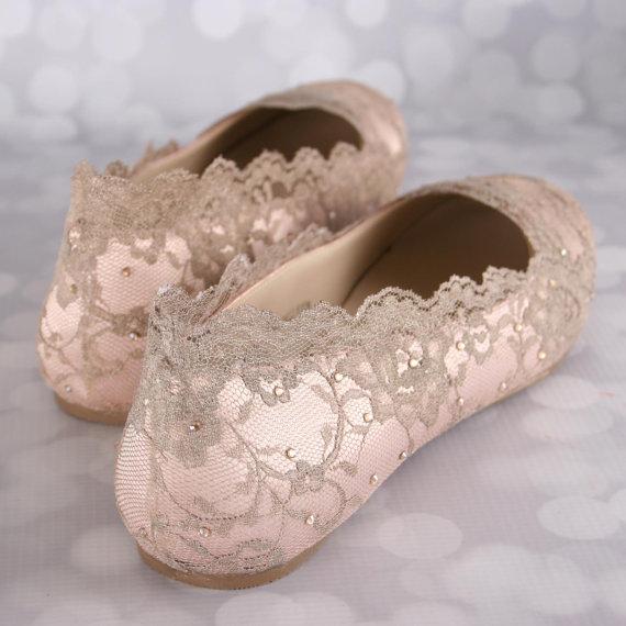 Champagne Lace Bridal Flats