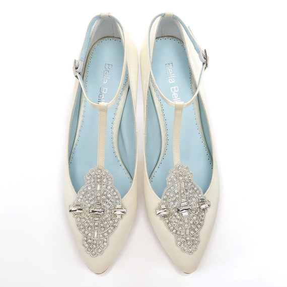 Handmade Wedding shoes with Art Deco Ivory or White Wedding Shoes with Crystal Applique T-Strap low Heel Silk Satin Bridal Shoes